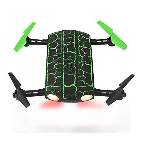 Ularma Nouveau G-Sensor 0,3 MP Caméra WiFi FPV RC Quadcopter Mini Drone Selfie Pliable (vert)