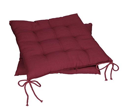 Betz Stuhlkissen Sitzkissen mit Bindebändern Holiday 40x40 cm Menge 2 Stück Farbe Beere