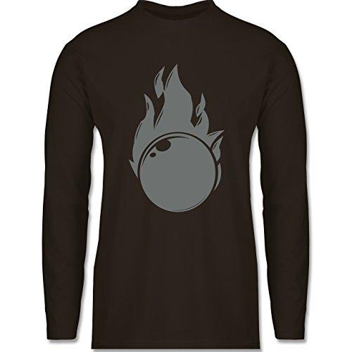 Shirtracer Bowling & Kegeln - Kegeln Flammen Kugel Einfarbig - Herren Langarmshirt Braun