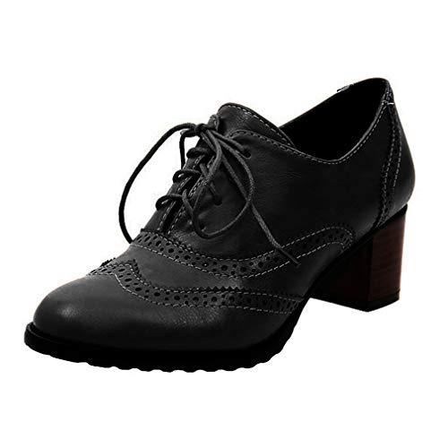 Brogues Damen Blockabsatz Leder Schnürhalbschuhe Low Top Lederschuhe Oxford 6cm Absatz Schuhe Elegante Vintage Schwarz Braun Beige Gr.34-43 BK35 Damen Oxford