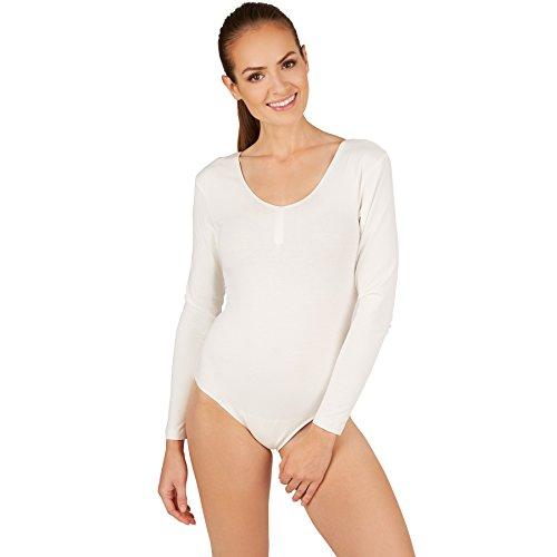 Body a Maniche Lunghe Donna | Collo Rotondo - disponibile in diversi colori e misure - L | Bianco | No. 301282
