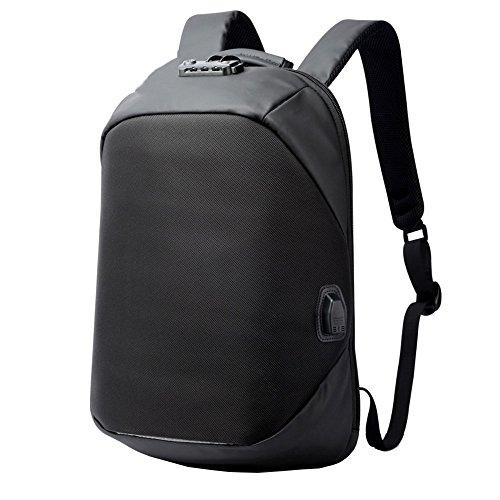 DOXUNGO Anti Diebstahl Rucksack USB-Port 15.6 Zoll Business Laptop Rucksack Herren für Studenten Bussiness Reisen Wandern Outdoorsport (Schwarz)