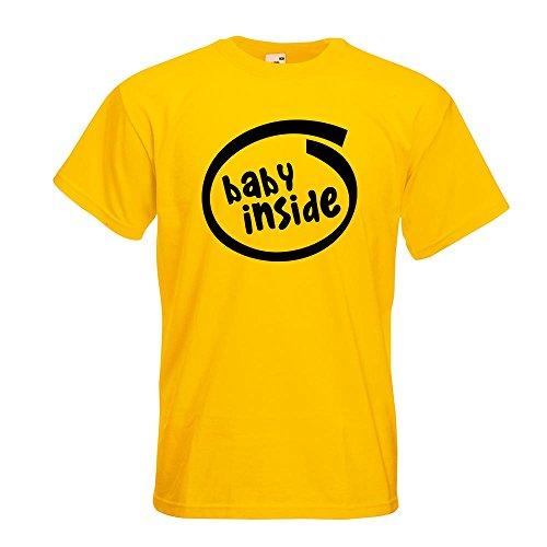 KIWISTAR - Baby inside T-Shirt in 15 verschiedenen Farben - Herren Funshirt bedruckt Design Sprüche Spruch Motive Oberteil Baumwolle Print Größe S M L XL XXL Gelb