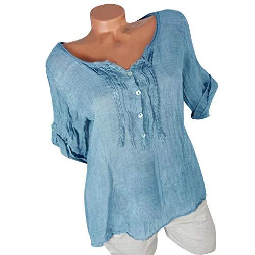 Damen Bluse Xiantime Tops Damen Sommer Plus Size Blumendruck Langarm Bluse Pullover Tops Shirt S-5XL