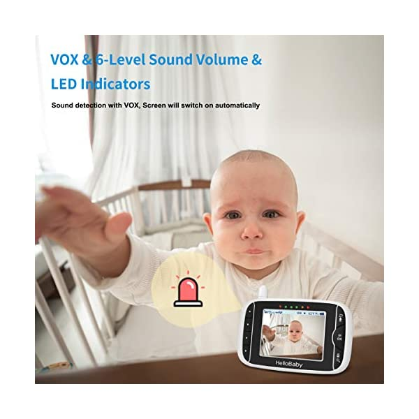 """HelloBaby Video Baby Monitor, [HB66] with VOX Mode Remote Camera Pan-Tilt-Zoom 3.2 Inches Color LCD Screen Infrared Night Vision Temperature Monitoring Lullaby 2-Way Audio (Black) hellobaby 3.2"""" LCD DISPLAY & 2.4GHz WIRELESS TECHNOLOGY: This video baby monitor is equiped with a 3.2 inch TFT LCD display. Application of frequency hopping and digital encryption technology ensures secure and reliable connection. REMOTE PAN TILT and ZOOM: Remote control camera rotate 355° in horizontal and 120° vertical ensuring you always have a clear view of your baby from any angle. TWO WAY TALK: The crystal clear two-way audio feature allows conversation both ends as clear as if you were in the same room with your little one. 3"""