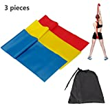CHMY Exercise Resistance Bands 3 set Resistance Loop bands 1200mm Long Fitness Stretch, Band Yoga Straps for Upper and Lower Body Exercise, Strength Training without Weights, Physical Therapy, Lower Pilates, and Rehab, Waterproof Carrying Case