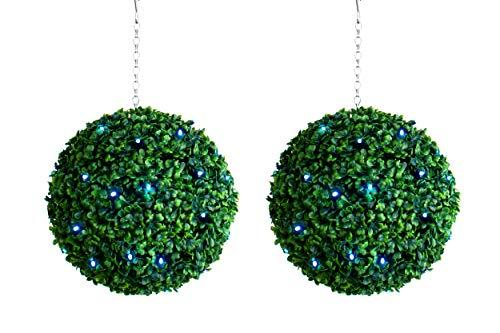 Best Künstliche Buchsbaumkugeln mit Beleuchtung, wasserfest, helle weiße LED, wasserdicht, 28 cm, 2 Stück