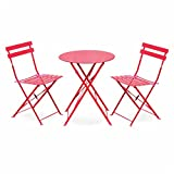 Best Chaises pliantes rouges - Salon de Jardin bistrot Pliable - Emilia Rond Review