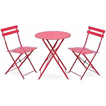 Salon de Jardin bistrot Pliable - Emilia Rond Rouge Framboise- Table Ronde  Ø60cm avec Deux chaises Pliantes, Acier thermolaqué
