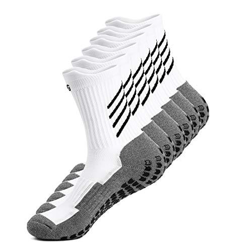 Gogogoal Rutschfeste sport Socken herren damen, Dicke, Deodorant Atmungsaktive anti-rutsch athleticsocke für fußball Basketball Yoga Handball Trekking Laufen Radfahren, Schwarz/Weiß (Weiß-3Paar) (Schnelle Füße-fußball-trainer)