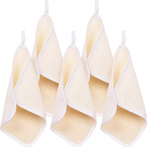 5 Packung Peeling Gesicht und Körper Waschlappen Handtuch Weiches Gewebe Badetuch Peeling Peeling Tuch Massage Badetuch für Damen und Mann (Eine Seite Peeling und eine Seite weiche Frottee) -