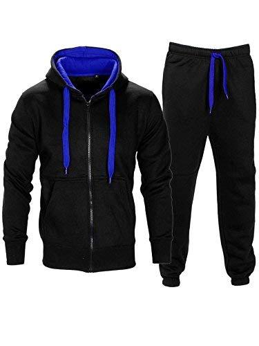 Love My Fashions Mens Tracksuit Set New Contrast Cord Fleece Hoodie Top Bottoms Jogging Zip Joggers Gym Sport Sweat Suit Pants Plus Size S M L XL XXL