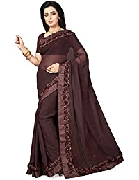 Ishin Poly Georgette Brown Ribbon Work Solid Women's Saree/Sari