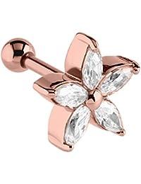 Barra para trago o hélice con joya en forma de flor de oro rosado Barra de acero quirúrgico de oro rosado Tamaño: 1,2mm calibre, 6mm de longitud