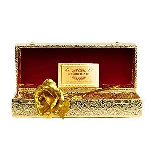 MSA Jewels Valentine's Gift Gold Rose 25 cm with Beautiful Golden Velvet Box