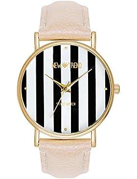 Armbanduhr Trenduhr Farbe Gold Creme Beige Lederarmband Unisex Herren Damenuhr Damen Uhr Uhren Edelstahl Günstig...