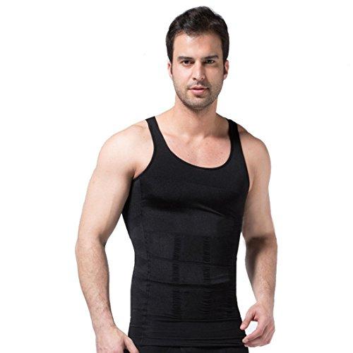 Ducomi Bodyslim - Chaleco para Hombre - Ropa Interior de Efecto Adelgazante Elástico y Formar para el Vientre y la Pérdida de Peso y Grasa - Previene el Dolor de Espalda y Lumbares (M, Negro)