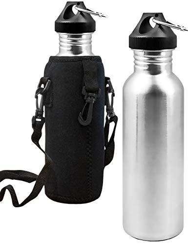 Outdoor Saxx® - Edel-Stahl Flasche | Trink-Flasche Bottle, Große Öffnung, Retro Design, BPA frei, unzerbrechlich, 750ml | Neopren Trage-Tasche -