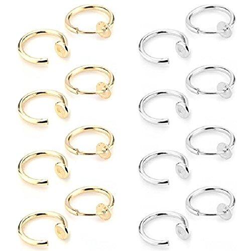zhichengbosi Bambine Primavera cerchio non-Piercing orecchio anelli, Uomo Donna valore colori finto