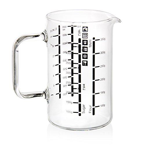 wenco Messbecher/Messkanne aus Glas mit zweisprachigen Skalen und verschiedenen Maßeinheiten, Fassungsvermögen: 0,5 Liter, Glas, Transparent, 531238 (Backen Gläser)