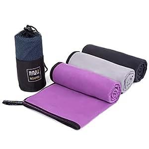 Asciugamano in microfibra. Asciugamano da palestra, nuoto, asciugatura rapida, super assorbente, leggero, compatto, antibatterico. Fitness, all' aperto, campeggio, spiaggia, viaggi, yoga. Grande asciugamano in borsa per il trasporto (nero)