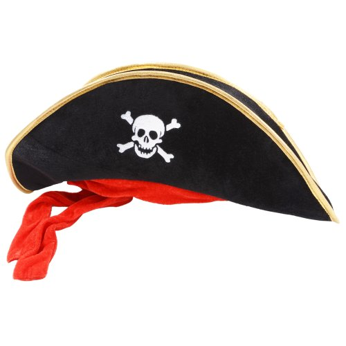Long Style Fancy Dress Black Velvet Effect Pirate Hat W/ Attached Red Bandana