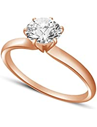 Atjewels 14K Rose Gold Plated On 925 Silver Round White CZ Solitaire Engagement Ring Christmas Special