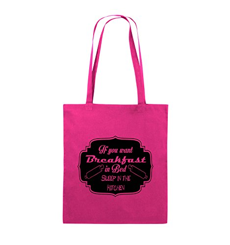 Comedy Bags - If you want Breakfast in Bed - KITCHEN - Jutebeutel - lange Henkel - 38x42cm - Farbe: Schwarz / Pink Pink / Schwarz