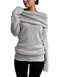 2af33dbd59cf StyleDome Damen Sexy Langarm Off Shoulder Cardigan Asymmetrisch Pullover  Strick Langshirt Bluse Top