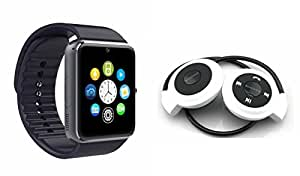 MIRZA Bluetooth GT08 Smart Watch & Bluetooth Headset for LENOVO p90(Mini 503 Bluetooth Headset & GT08 Smart Watch Watch Phone with Camera & SIM Card Support Hot Fashion New Arrival Best Selling Premium Quality Lowest Price with Apps like Facebook,Whatsapp, Twitter, Sports, Health, Pedometer, Sedentary Remind,Compatible with Android iOS Mobile Tablet-Assorted Color)
