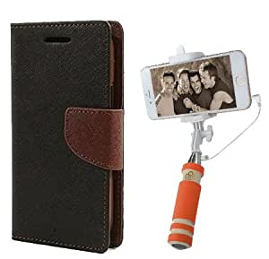 Aart Fancy Diary Card Wallet Flip Case Back Cover For Samsung ON5 - (Blackbrown) + Mini Aux Wired Fashionable Selfie Stick Compatible for all Mobiles Phones By Aart Store