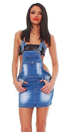 10419 Fashion4Young Damen Jeansskirt Jeansrock Minirock Trägern Latzrock Rock Jeans verfügbar Blau (L = 40, Blau)