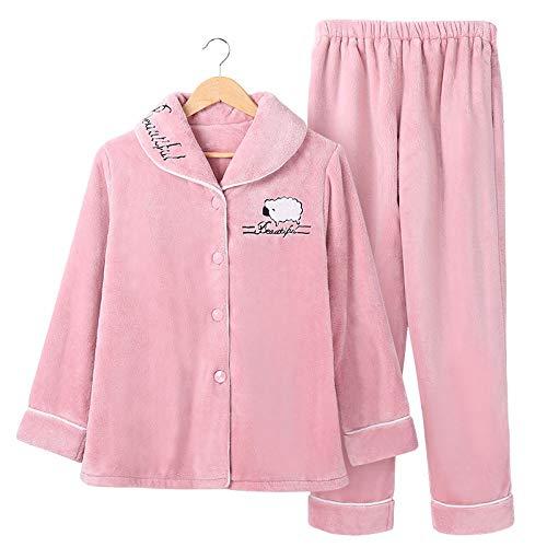 Yshuiyi Pyjamas Herbst Und Winter Korallen Fleece Pyjamas Frauen Winter Verdickung Hause Service Damen Winter Flanell Warme Langarm Anzug