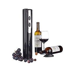 Relaxdays Elektrischer Korkenzieher mit Folienschneider, batteriebetrieben, Flaschenöffner, Weinöffner, schwarz