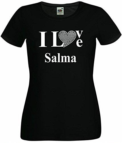 T-Shirt I Love Salma mit einer Strassaplikation / Strassherz Weiß