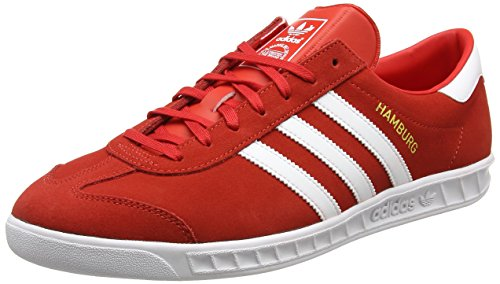 Adidas Hamburg, Zapatillas para Hombre, Rojo (Red/Footwear White/Gold Metallic), 43 1/3 EU