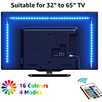 """LE TV Backlights, 2M USB LED Light Strip with RF Remote, Dimmable RGB Mood Lights, SMD 5050 Bias Lighting for 32 - 65"""" TVs, Computer, Gaming Monitor and More (4 x 50cm)"""