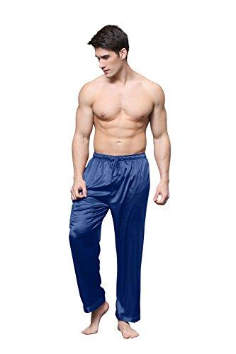 TONY & CANDICE Herren Satin Schlafanzughose Lang Pyjamahose Nachtwäsche Hose Blau