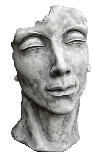 Skulptur Portrait Gesicht Mann H53cm Steinguss Steinfigur Antik Grau Vidroflor Gartenskulptur + Original Pflegeanleitung von Steinfigurenwelt Giessen