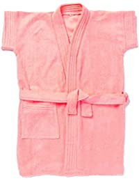 Sanddune - Kids Bathrobe for Baby Girls - 100% Terry Cotton Bathrobe Gown - Half Sleeves, Knee Length, Pocket with Waist Belt - Children Bath Robe for Age Group Between 12 months to 4 Years - Available in Dark Blue, Dark Pink, Lemon Yellow, Peach, Pink, Red & Sky Blue Color PKG_M2O
