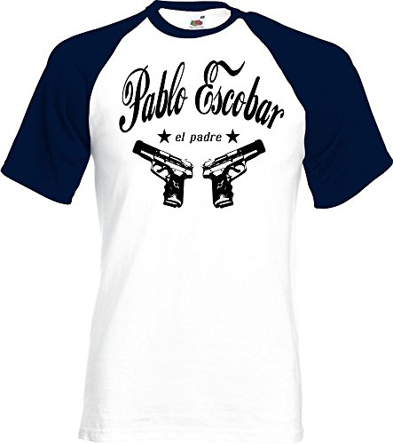 Coole Fun T-Shirts Pablo Escobar EL Padre Cocaine t-Shirt Kokain Baseball, Grösse: XL