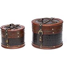 2X Maleta Caja de Madera de Madera de los Troncos de Estilo Antiguo