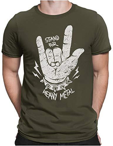 PAPAYANA - Stand for Heavy Metal - Herren Fun T-Shirt Bedruckt Music Band Punk Rock - 3XL - Oliv