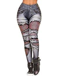 VJGOAL Moda Mujer imitación Pantalones Vaqueros del Agujero de impresión Pantalones de Yoga Gimnasio Deportivo Corriendo