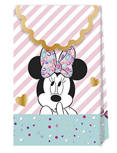 6 Partytüten mit Minnie Maus für Kindergeburtstag und Motto-Party   Disney-Tüten für Mitgebsel und Geschenke