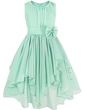 iEFiEL Vestido de Fiesta Princesa Gasa Bautizo Boda para Niña Vestido Casual de Ceremonia (4-14 Años)