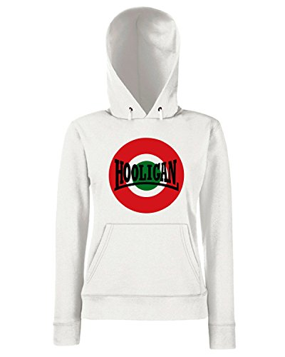 T-Shirtshock - Sweats a capuche Femme OLDENG00138 italia hooligan Blanc