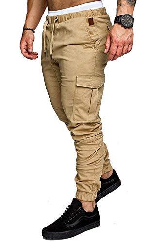 Socluer Cinturón algodón elástico Hombres Pantalones