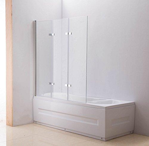 CLP Nano Duschabtrennung für die Badewanne   Faltbarer Badewannenaufsatz aus Sicherheisglas   3 teilige Duschwand Klarglas, Anschlag: Links