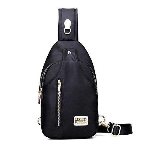 Tasche Oblique Cross Package impermeabile Nylon Outdoor sport ricreativi Black